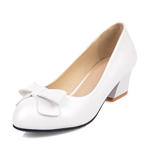 Adee Damen Chunky Heels Bögen Mikrofaser Pumpen Schuhe Weiß