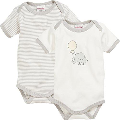 Schnizler Unisex Baby Body Kurzarm, 2er Pack Elefant, Oeko-Tex Standard 100, Beige (Natur 2), 62 (Herstellergröße: 62/68)