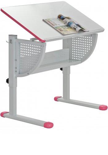 HJH Office Smile höhenverstellbar und neigbar pink/Weiss Kinderschreibtisch, Holz, rosa, 52,5-79,5 x 80 x 50 cm