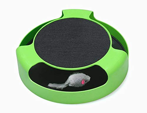 Beito Gato Juguetes interactivos Un Ratones y un Bloc de Notas Correr, atrapar al ratón, Gato Scratcher Juguetes Hierba gatera, Verde