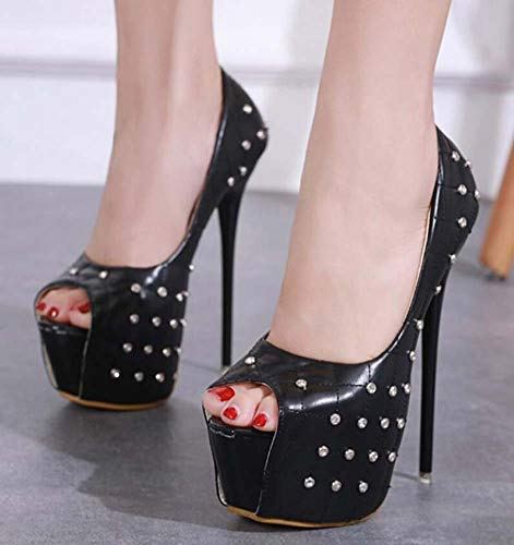Mamrar 16Cm Stiletto Pumpe Peep Toe High Heel Hochzeitskleid Sheos Frauen Mode-Plattform Rhinestone Rivets OL Court Shoes EU Größe 34-40,Black,34EU - Marine-peep-toe-heels