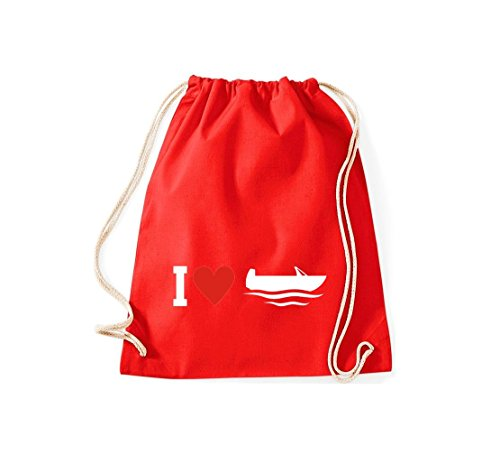 Shirtstown Gymsac Turnbeutel I Love Angelkahn, Kapitän, viele Farben rot