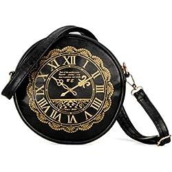 sourcingmap® Frauen Retro Uhr PU Leder Handtaschen Geldbörsen KreuzungKörper Schulter Tasche