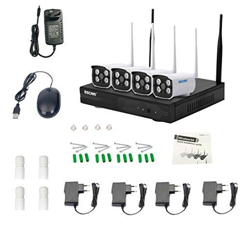 Sharplace ESCAM Wifi IP Kamera 4CH Überwachungskamera Kabellos Netzwerk Kamera - Weiß