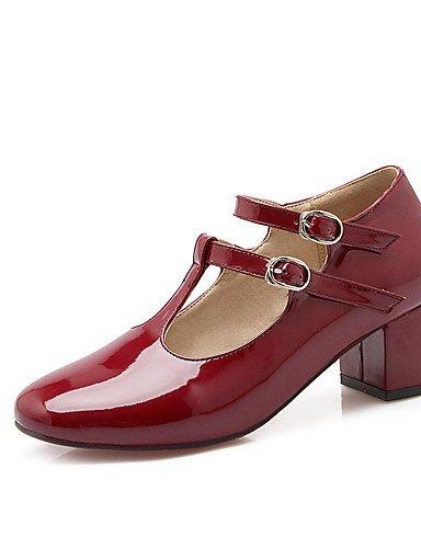 WSS 2016 Chaussures Femme-Habillé / Décontracté / Soirée & Evénement-Noir / Rouge / Gris-Gros Talon-Talons / Bout Arrondi-Talons-Cuir Verni red-us6 / eu36 / uk4 / cn36