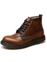 Botas Chelsea de Hombre Botas de Cuero Cuero otoño e Invierno Botas Martin Zapatos de Encaje