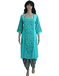 Dual Tone A-Line Kurti And Dhoti Set For Women - Multicolur Check Square Neck In Size XS - 7XL By PATRORNA