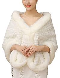 Amurleopard Etoles fourrure femmes de renard poncho cape vetements de mariage de luxe blanc