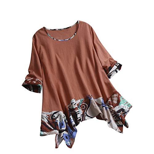 3/4 Ärmel Vintage-pullover Top (Tops Shirt Damen Bluse Xjp Frauen Ethnischer Gedruckt 3/4 Ärmel Rundhals Vintage Unregelmäßig T-Shirt Mode Lose Pullover Oberteile Hemd(XXXL, Orange))