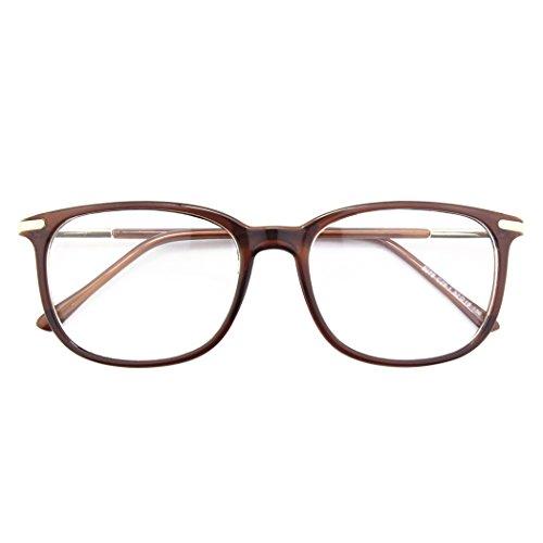 CGID CN79 Klassische Nerdbrille ellipse 40er 50er Jahre Pantobrille Vintage Look clear lens,Braun