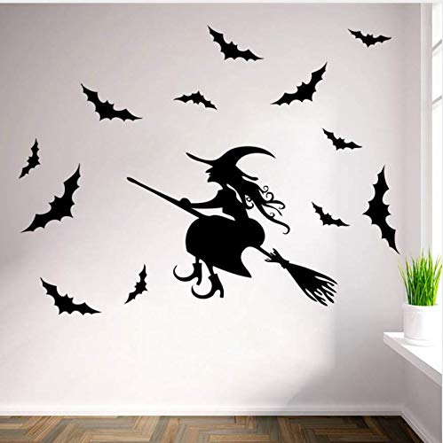 Halloween Neueste Besen Zauberer Fledermäuse Home Party Dekoration Wandaufkleber Diy Kreative Kinderzimmer Fenster Decor Abnehmbare Aufkleber