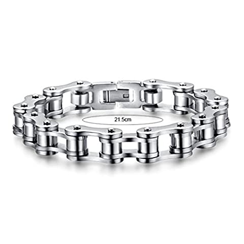 Ouneed® Bijoux pour hommes Bike Chain Bracelet en acier inoxydable 8.5inch