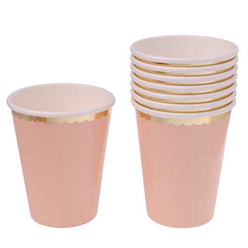 nwegbecher Pappbecher Trinkbecher Becher Papierbecher Einweg Papier Einfarbig - Rosa, 270 ml ()