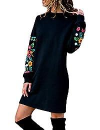 WWricotta Women Autumn Winter Casual Long Sleeve Floral Embroidery Sweatshirt Dress