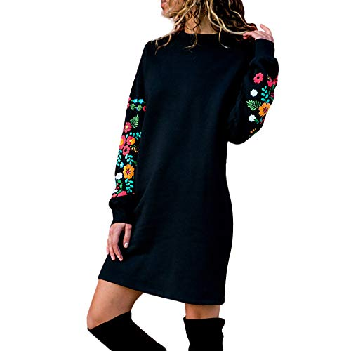 ODRD [S-XL] Damen Kleider Kleid MäDchen Womens Christmas Xmas Herbst Winter Lässig Lange Ärmel Blumenstickerei Sweatshirt Minikleid Festliche Frauen Elegant Dress Party