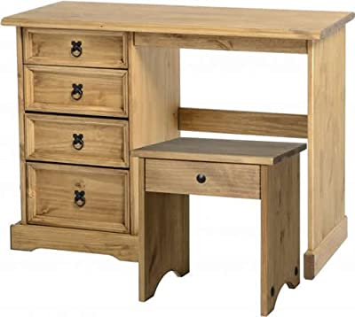 Corona Mexican 4 Drawer Dressing Table Set with Stool in Distressed Waxed Pine