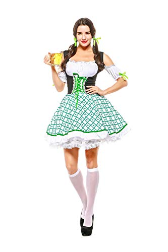 Kostüm Sexy Bier Girl - NGHJF Oktoberfest Maid Cosplay Kostüm Bayerisches Bier Festival Kostüm Bier Sexy Sunny Girl Frauen Bluse Schürze Cosplay Kostüm@XL