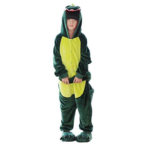 DarkCom Kinder Kigurumi Strampelanzug Pyjamas Tier Cosplay Kostüme Cartoon Jumpsuit Nachtwäsche (110(vorschlagen Höhe:102cm-110cm), Grüner Dinosaurier) (Erwachsene Dinosaurier Hoodie)