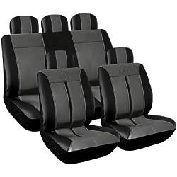 Eufab 28288 Buffalo - Fundas de cuero sintético para asiento, color negro y gris