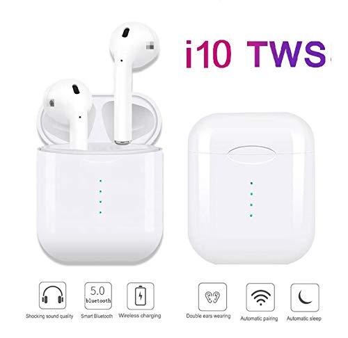 i10 Tws. Mini Auriculares Inalámbricos Bluetooth 5.0 con micrófono Integrado + Caja de Carga Incluido, para Android, iOS. Auriculares Deportivos Compatibles con Cualquier Dispositivo con Bluetooth