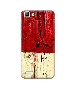 Be Awara Red & White Wood Printed Back Case Cover for Vivo V1