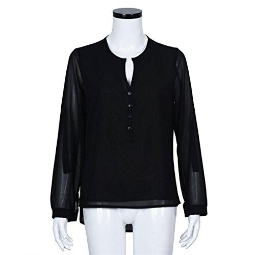 Malloom® Frauen V-Ausschnitt Chiffon Langarm Casual Hemd Bluse Neu Schwarz