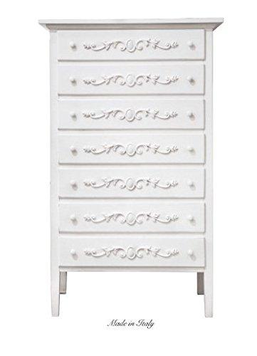 Cassettiera in legno stile vintage con fregio disponibile in diverse rifiniture L'ARTE DI NACCHI 4975M/BG