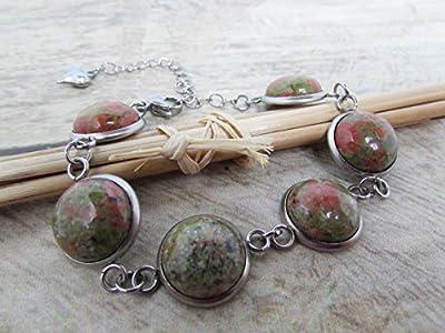 Bracelet ajustable cabochon pierre de gemmes unakite - acier inoxydable, cadeaux pour elle, Cadeaux anniversaires, cadeaux Noël, cadeaux maman, cadeaux maitresses