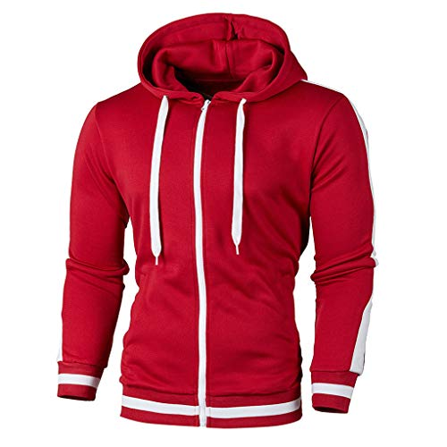 Skxinn Herren Sweatjacke Kapuzenjacke,Männer Herbst Winter Langarm Patchwork Hoodie Oberteile mit Reißverschluss,Streetwear Sweatshirts Mantel Slim Fit Jacke Tops Ausverkauf(Rot,Medium)