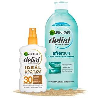 Garnier Delial Kit de Bronceado: Spray Ideal Bronze IP30+ y Leche Hidratante Calmante After Sun – Spray 200 ml, After Sun 400 ml