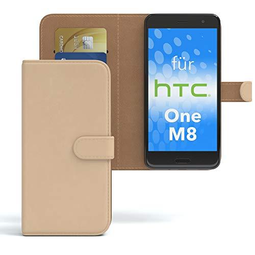 EAZY CASE HTC One (M8) / (M8s) Hülle Bookstyle mit Standfunktion, Book-Style Case aufklappbar, Schutzhülle, Flipcase, Flipstyle, Flipcover mit 2 Kartenfächern aus Kunstleder, Hellbraun