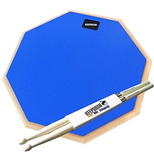 'Keepdrum DP de bl12Drum Practice Pad Azul übungspad 12+ baquetas (1par)