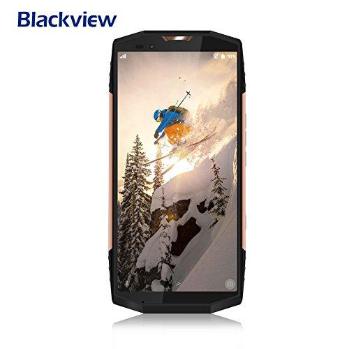 Teléfono robusto, Blackview BV9000 (2018) 18: 9 5.7 HD + '' 4 pantalla GB de RAM y ROM 64 GB 4G Smartphone, teléfonos con cámara dual 13MP + 5MP traseras, 4180mAh batería grande con 12V 2A de carga rápida Android 7.1 Face ID-Oro