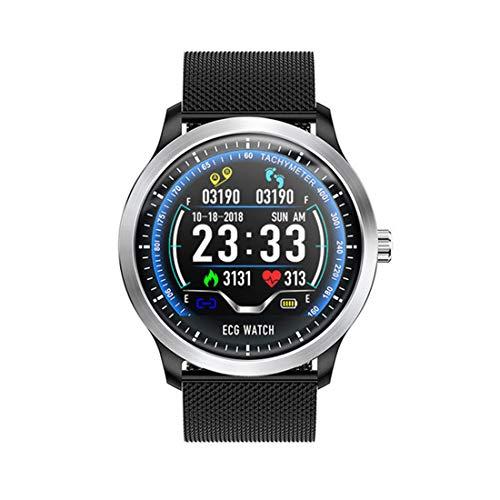 ZYWTZ HKANG® Smart Watch Bluetooth 4.0 EKG-Anzeige Soziale Unterhaltung Informationstaste Gesundheitsüberwachung Multifunktional Smartwatches,A (Herren-funkuhr)
