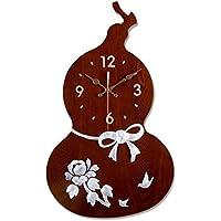 YHEGV Silencio Maravilloso Reloj de Pared Relojes de Cuarzo de Madera, Conchas, salón de