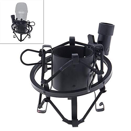 MJTCJY Professionelles Kondensator-Studiomikrofon Doppelschicht-Elastikgitter vergoldet und 3,5 mm verdrahtet for Bühnenkonferenzen (Color : Black)