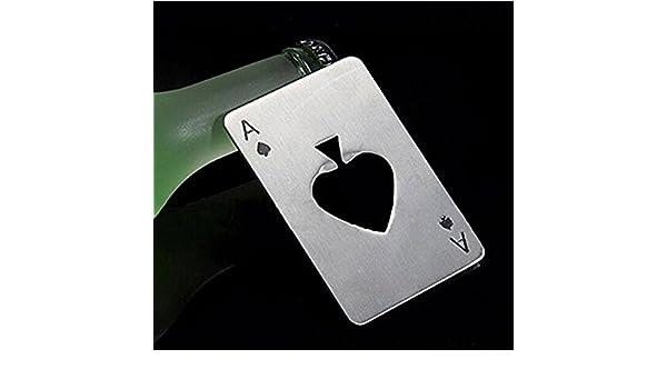 Argent Ouvre-bouteille Portable en Forme de Carte de Poker niceEshop TM