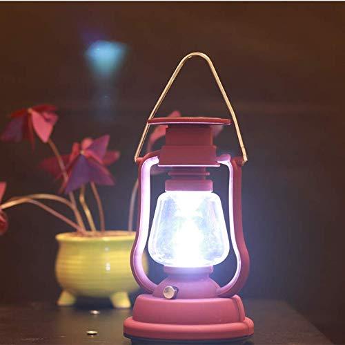 HRIZIEZOU Retro LED Hurricane Lantern, Warm White Battery Light, Solar, Taschenlampe DREI Lademodes Antique Metal Chandelier mit Dimming Switch, 7 LEDs, Indoor oder Outdoor Use,Red,warmyellowlight