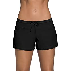 Dolamen Femme Shorts de Bain, Maillot de Bain Femme Beachwear Swimwear Bikini Slip Robe de Plage Amincissante Slim Grande Taille Avec cordon ajustable, Style Boyleg (XXX-Large, Noir)