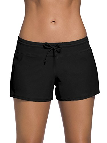 Dolamen Damen Badeshorts Bikinihose Shorts Trunks Badeanzug Bauchweg Badekleid mit verstellbarem Tunnelzug Mini Bikini Slip Beachwear, Boyleg Stil (Large, Schwarz) (Trunks Badeanzug)