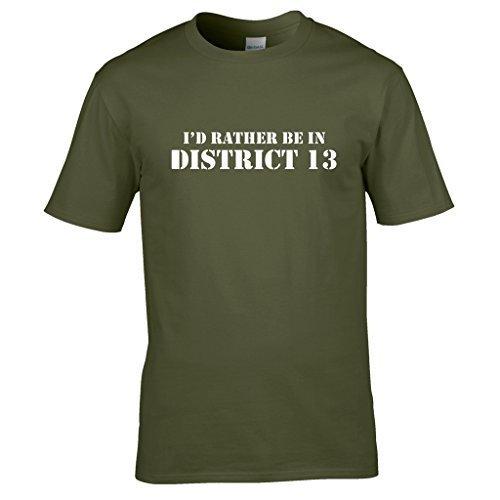Naughtees Strampler-I 'd Rather Be In District 13T-Shirt., für Tage Sie sie einfach nicht sein wollen, wo Sie zu. Grün - Olive Green