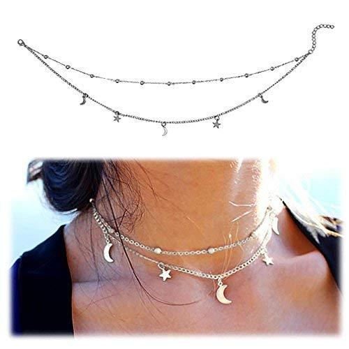 Gleamart Frauen Mädchen Layered Crescent Monde & Sterne Perlen Charm Choker Halskette Silber