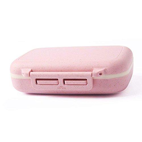 Queta Klein Pille Box, praktisches Tragbare Mini Weizen Medizin Box mit 6Fächern Kleine Kit Reisen Tablets Fall Rosa Rose