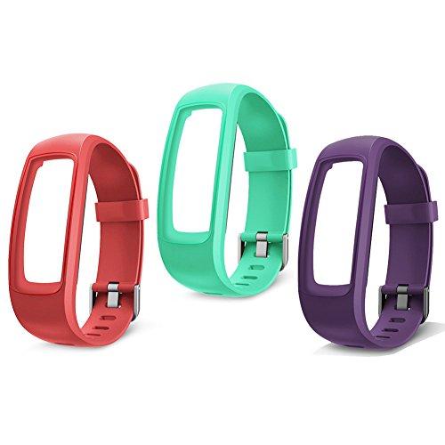 lintelek TPE Ersatz-Riemen für lintelek Fitness Tracker ID107plus HR (Rot/Grün/Violett) …