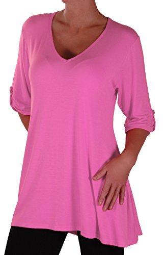 Eyecatch Plus - Shellie Damen V-Ausschnitt Tunika Übergröße Frauen Ausgestelltes Langes Top Pink Gr. 46