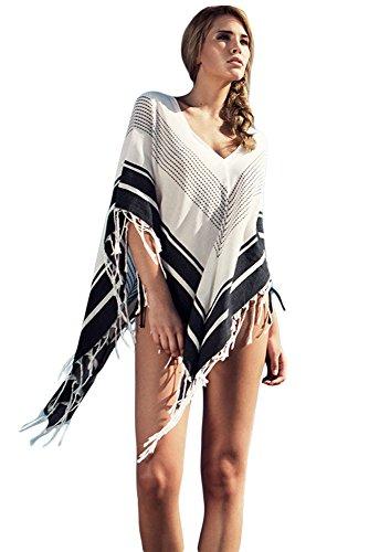 Mesdames Bohémien Chic Boho Broderie Couvrir Tenue de plage Mini Robe blanc-4