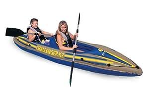 INTEX K2 CHALLENGER KAYAK 2 MAN INFLATABLE CANOE + OARS #68306