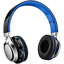 Aita BT816 Auriculares Bluetooth de Diadema Plegable, Cascos Estéreo con luz LED, radioFM, ranura para tarjeta de memoria micro SD, Micrófono incorporado para uso como manos libres compatible con iPhone, android, PC, Mac, TV y cualquier dispositivo Bluetooth (Azul)