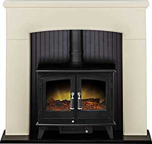 Adam Derwent Stove Suite in Cream with Woodhouse Electric Stove in Black, 48 Inch