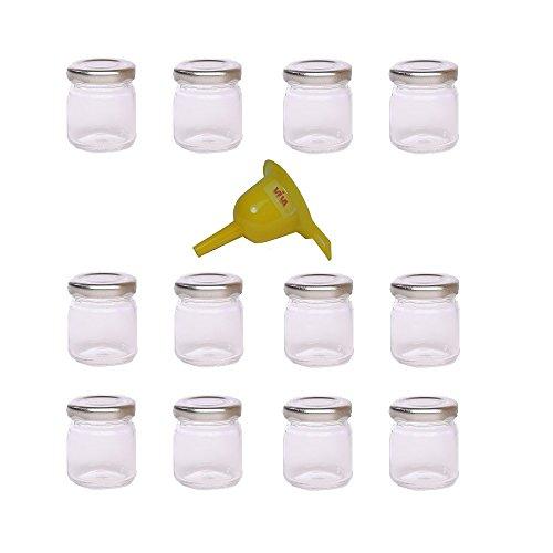 Viva Haushaltswaren - 12 x Mini Einmachglas 53 ml mit silberfarbenem Deckel, runde Glasdosen als Marmeladengläser, Gewürzdosen, Gastgeschenk etc. verwendbar (inkl. Trichter Ø 12,3 cm) (12 Glas-topf Mit Deckel)